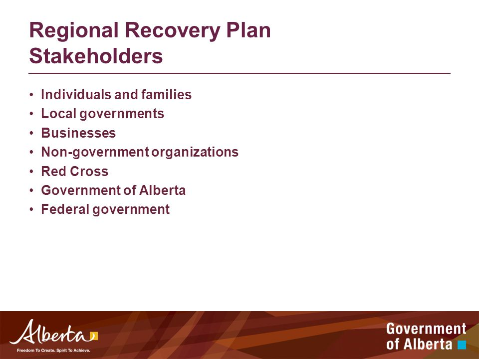 Regional Recovery Plan Stakeholders Individuals and families Local governments Businesses Non-government organizations Red Cross Government of Alberta Federal government