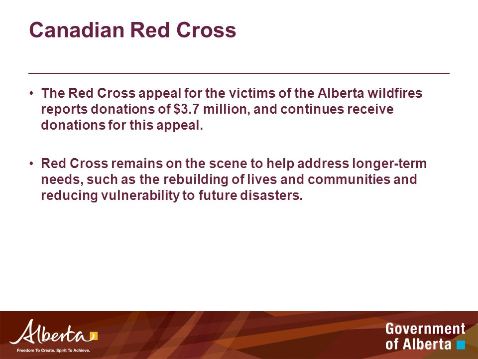 Canadian Red Cross The Red Cross appeal for the victims of the Alberta wildfires reports donations of $3.7 million, and continues receive donations for this appeal.