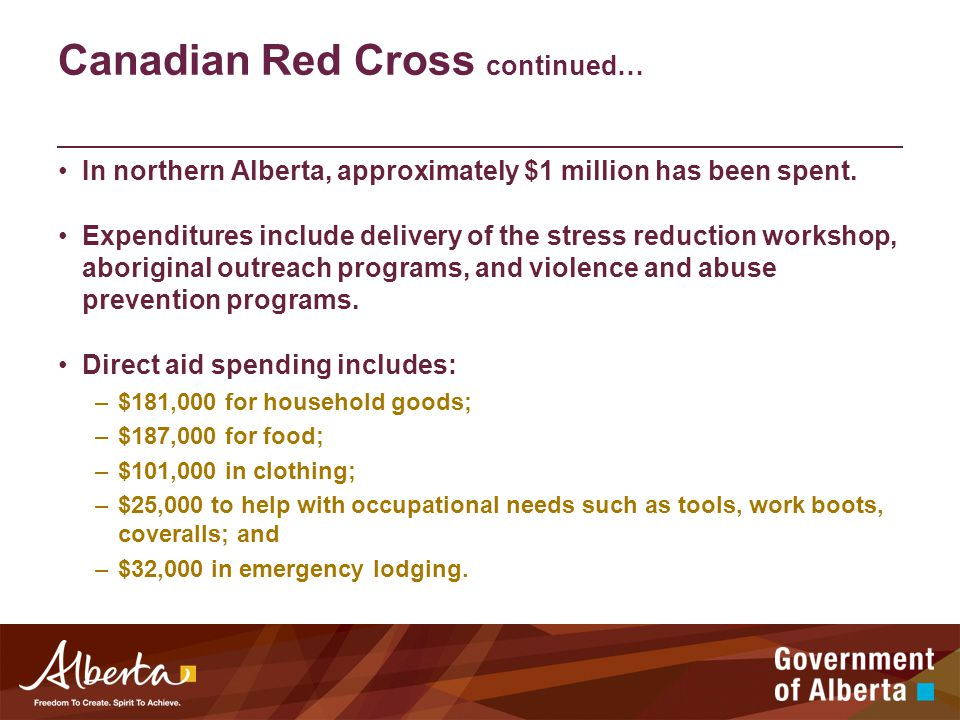 Canadian Red Cross continued… In northern Alberta, approximately $1 million has been spent.