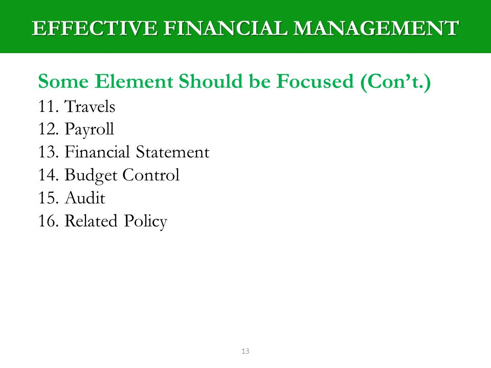 EFFECTIVE FINANCIAL MANAGEMENT 13 Some Element Should be Focused (Cont.) 11.