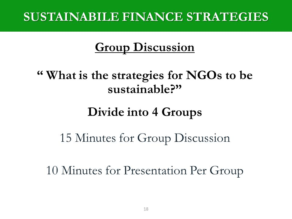 18 Group Discussion What is the strategies for NGOs to be sustainable.