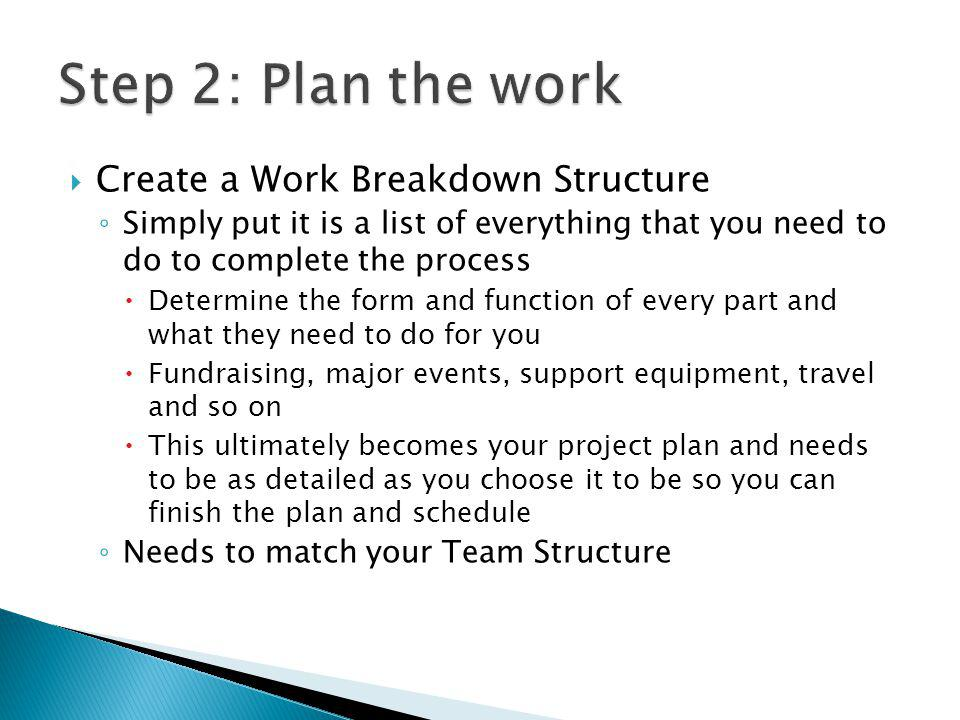 Create a Work Breakdown Structure Simply put it is a list of everything that you need to do to complete the process Determine the form and function of every part and what they need to do for you Fundraising, major events, support equipment, travel and so on This ultimately becomes your project plan and needs to be as detailed as you choose it to be so you can finish the plan and schedule Needs to match your Team Structure