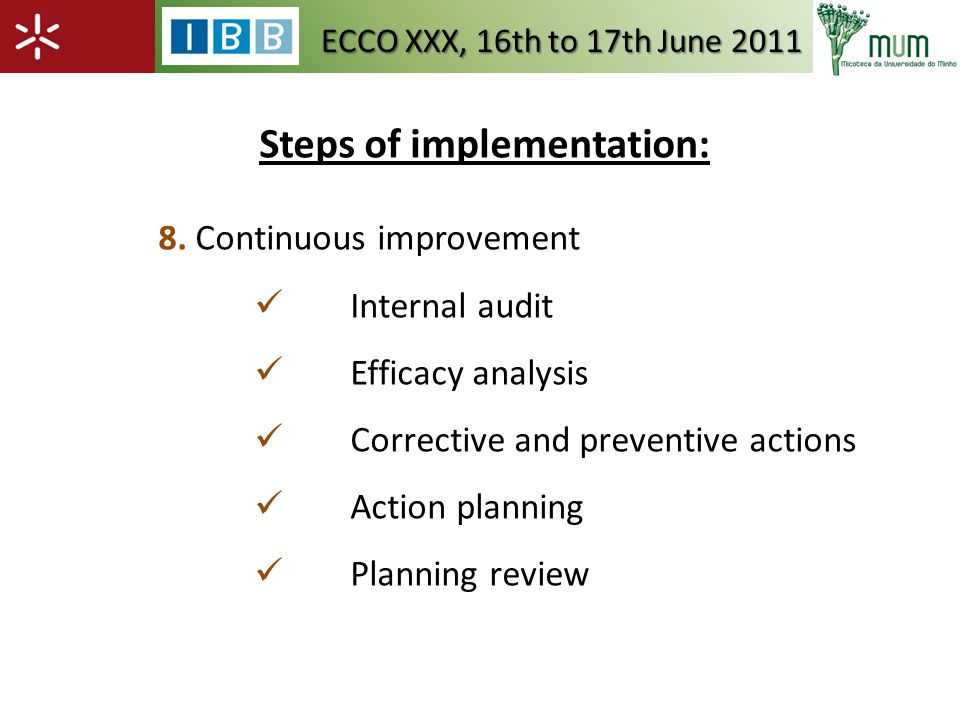 Steps of implementation: 8.