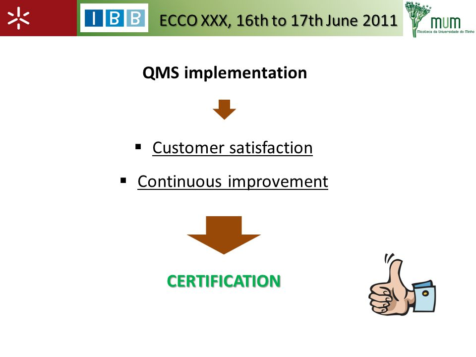 QMS implementation Customer satisfaction Continuous improvementCERTIFICATION ECCO XXX, 16th to 17th June 2011