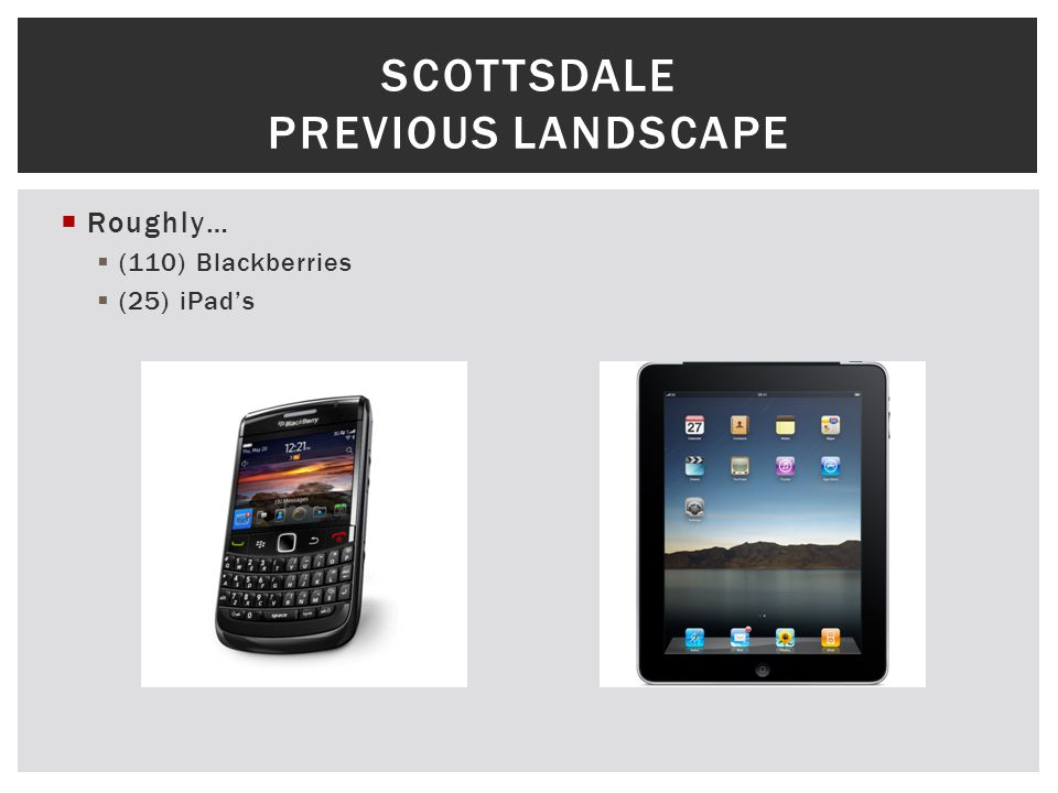 Roughly… (110) Blackberries (25) iPads SCOTTSDALE PREVIOUS LANDSCAPE
