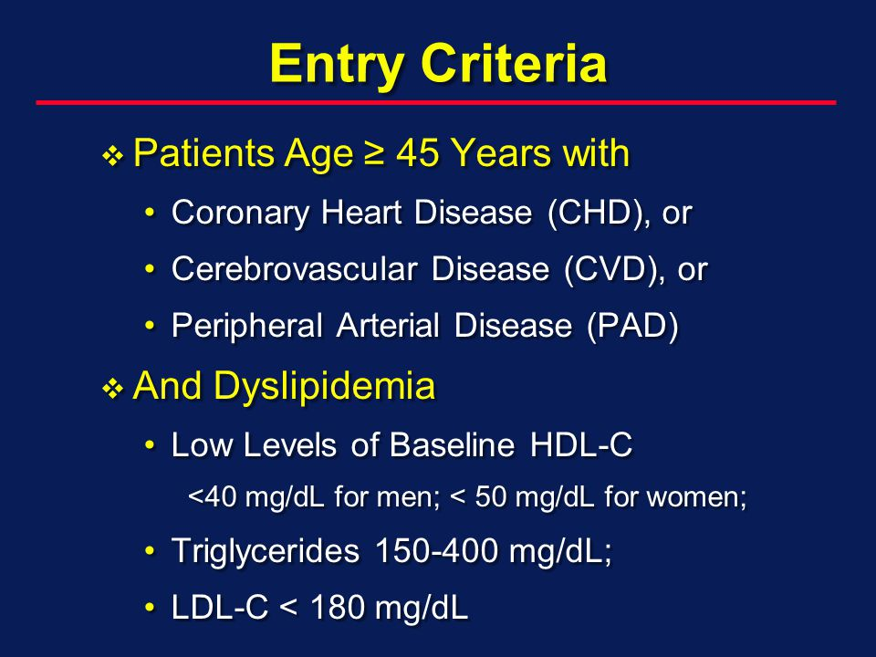 Entry Criteria Patients Age 45 Years with Patients Age 45 Years with Coronary Heart Disease (CHD), orCoronary Heart Disease (CHD), or Cerebrovascular Disease (CVD), orCerebrovascular Disease (CVD), or Peripheral Arterial Disease (PAD)Peripheral Arterial Disease (PAD) And Dyslipidemia And Dyslipidemia Low Levels of Baseline HDL-CLow Levels of Baseline HDL-C <40 mg/dL for men; < 50 mg/dL for women; Triglycerides mg/dL;Triglycerides mg/dL; LDL-C < 180 mg/dLLDL-C < 180 mg/dL