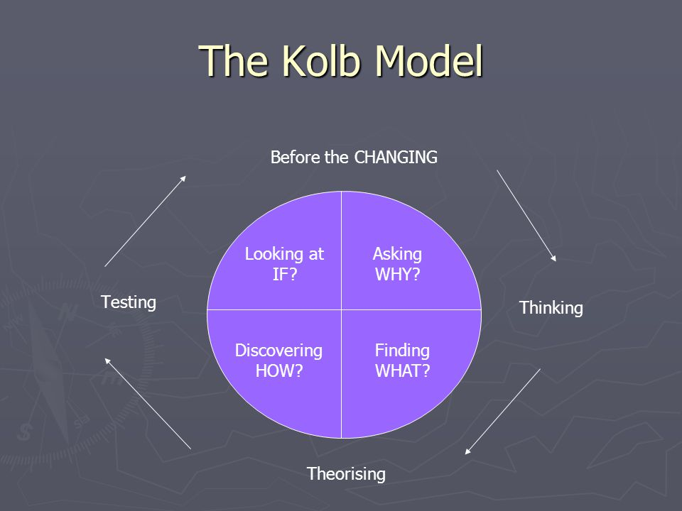 The Kolb Model Testing Thinking Finding WHAT. Asking WHY.