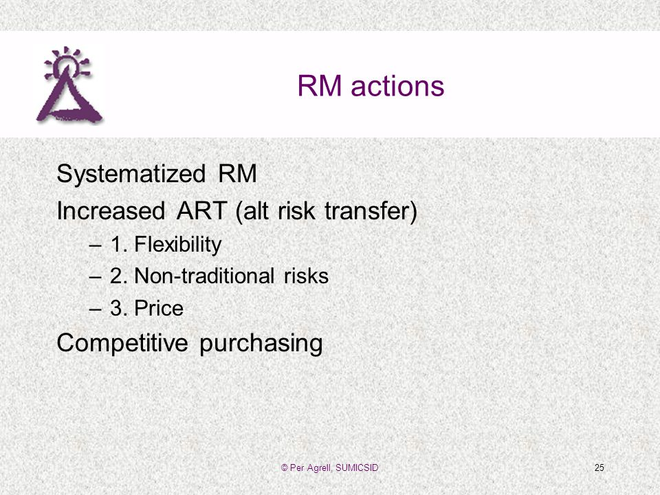 © Per Agrell, SUMICSID25 RM actions Systematized RM Increased ART (alt risk transfer) –1.