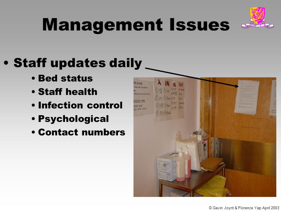 Management Issues Staff updates daily Bed status Staff health Infection control Psychological Contact numbers