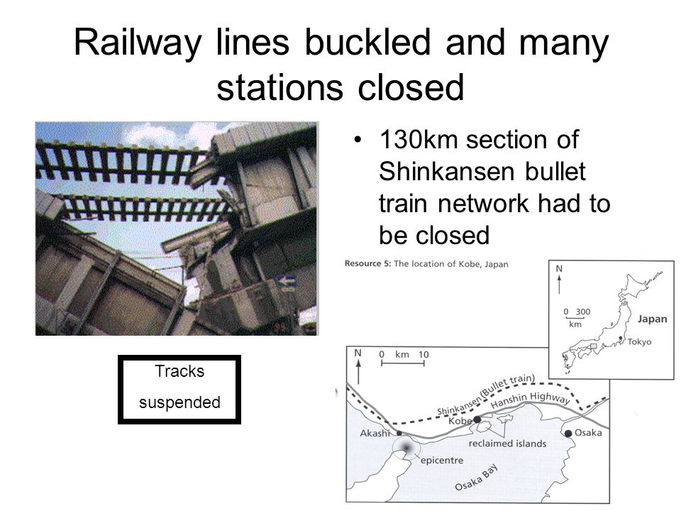 Railway lines buckled and many stations closed 130km section of Shinkansen bullet train network had to be closed Tracks suspended