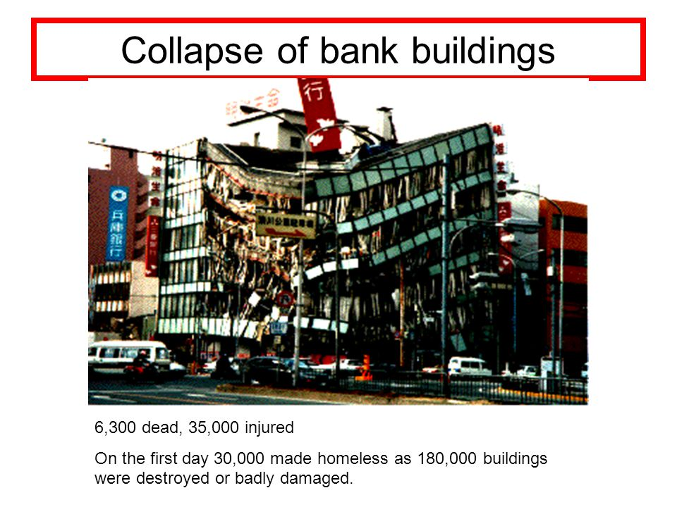 Collapse of bank buildings 6,300 dead, 35,000 injured On the first day 30,000 made homeless as 180,000 buildings were destroyed or badly damaged.