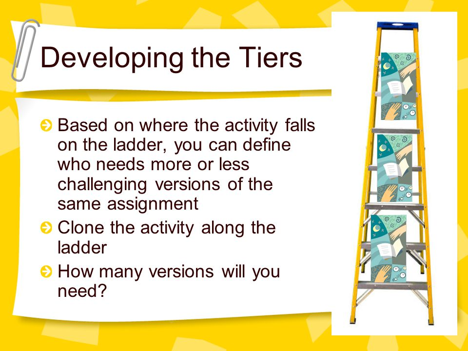 Based on where the activity falls on the ladder, you can define who needs more or less challenging versions of the same assignment Clone the activity along the ladder How many versions will you need.