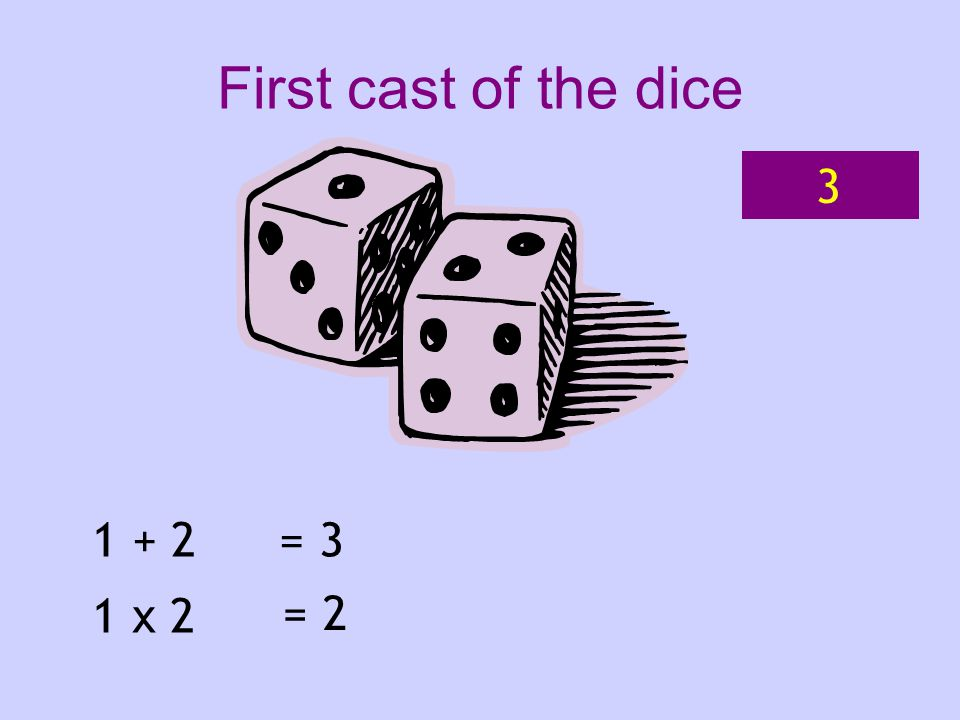 1 + 2 1 x 2 = 3 = 2 First cast of the dice 3