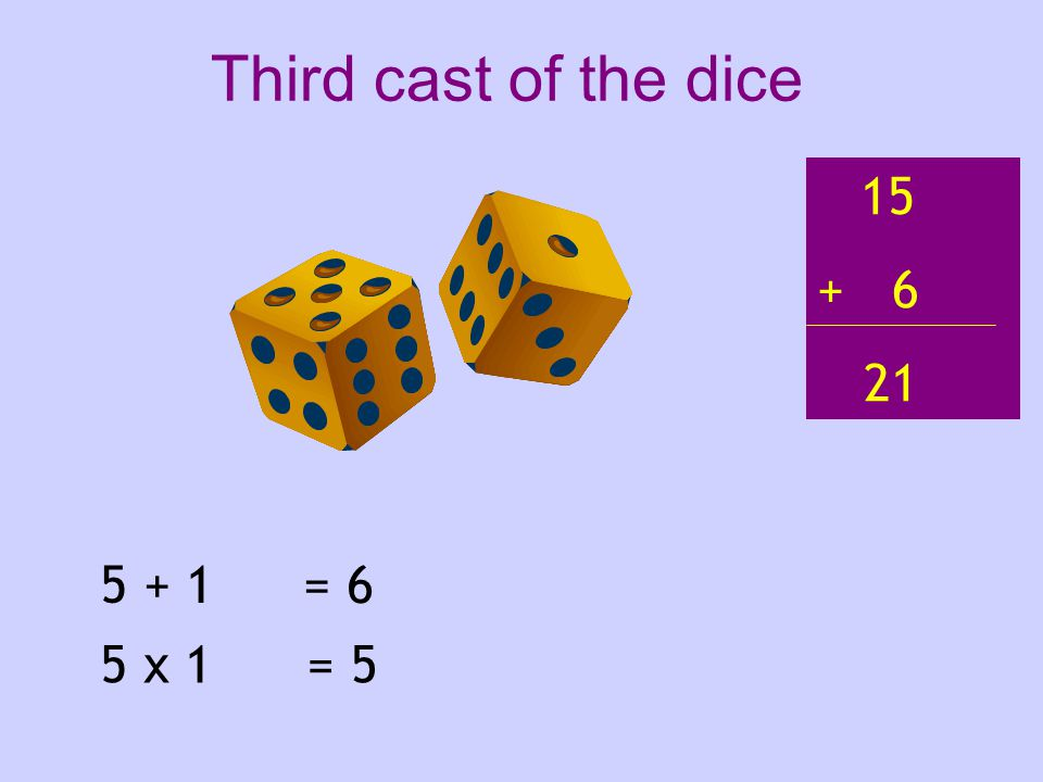 5 + 1 5 x 1 = 6 = 5 15 + 6 21 Third cast of the dice