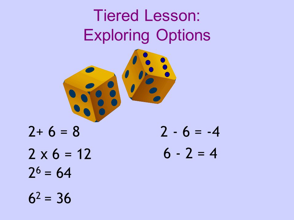 2+ 6 = 8 2 x 6 = 12 2 6 = 64 6 2 = 36 2 - 6 = -4 6 - 2 = 4 Tiered Lesson: Exploring Options