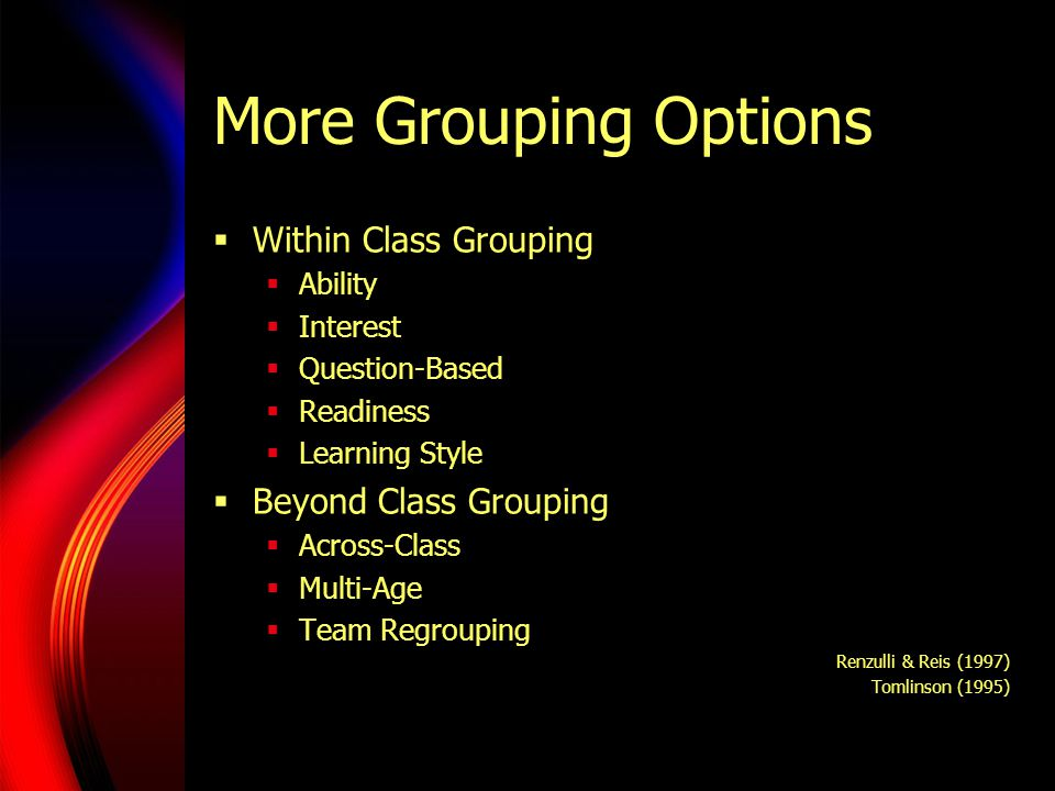 More Grouping Options Within Class Grouping Ability Interest Question-Based Readiness Learning Style Beyond Class Grouping Across-Class Multi-Age Team Regrouping Renzulli & Reis (1997) Tomlinson (1995)