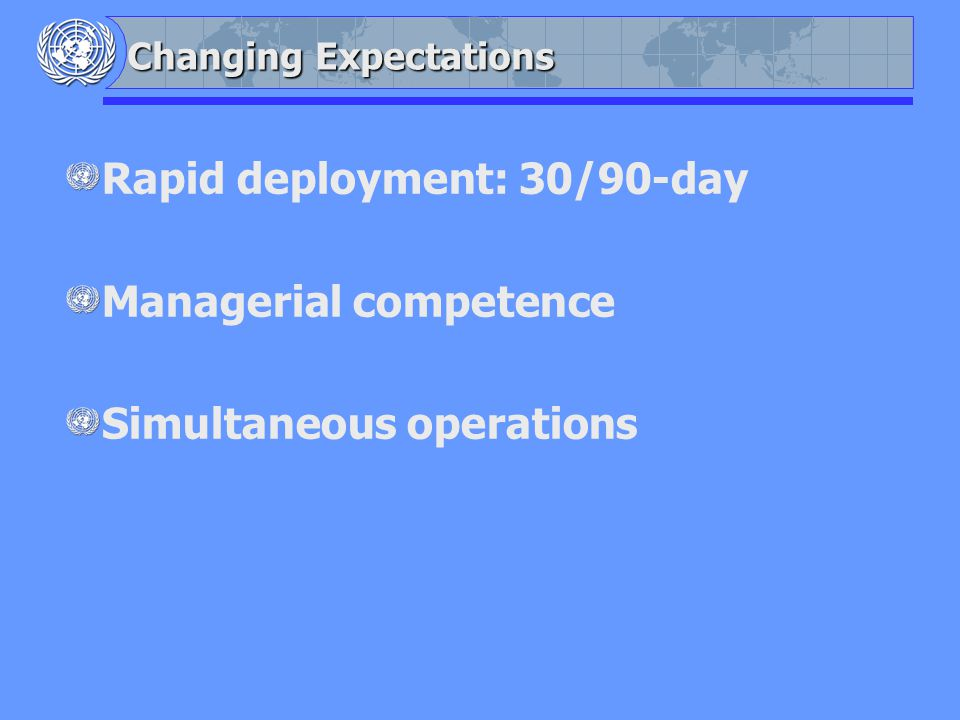 Changing Expectations Rapid deployment: 30/90-day Managerial competence Simultaneous operations