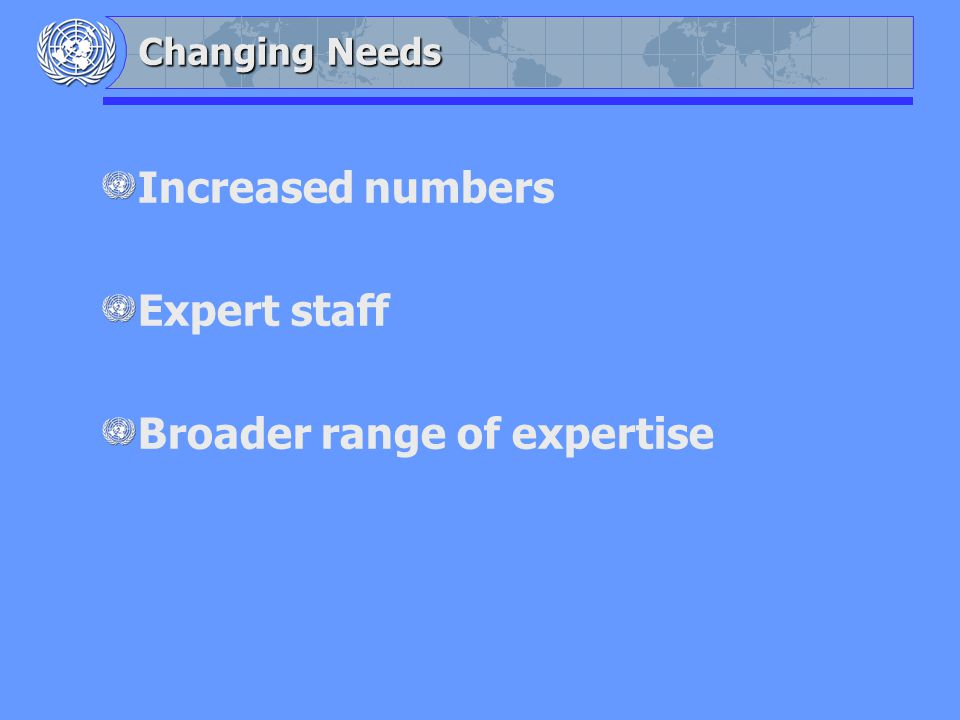 Changing Needs Increased numbers Expert staff Broader range of expertise