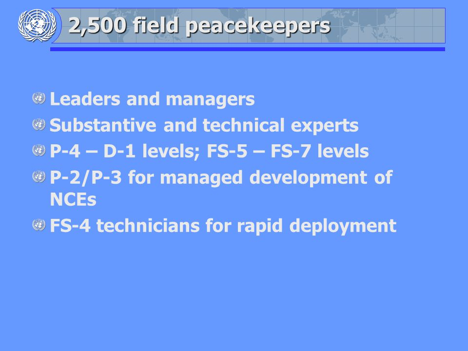 Leaders and managers Substantive and technical experts P-4 – D-1 levels; FS-5 – FS-7 levels P-2/P-3 for managed development of NCEs FS-4 technicians for rapid deployment