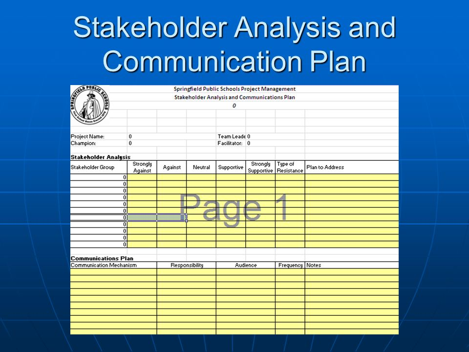 Stakeholder Analysis and Communication Plan