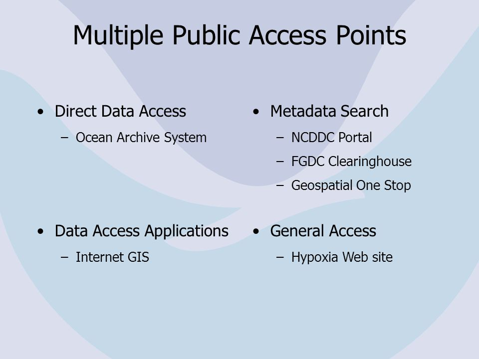 Multiple Public Access Points Direct Data Access –Ocean Archive System Data Access Applications –Internet GIS Metadata Search –NCDDC Portal –FGDC Clearinghouse –Geospatial One Stop General Access –Hypoxia Web site