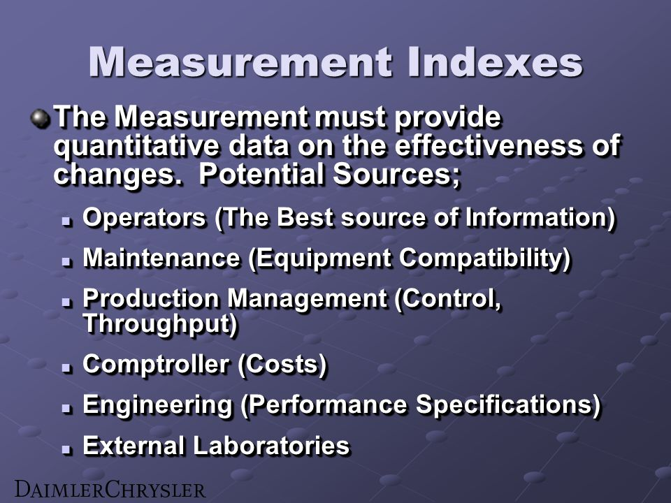 Measurement Indexes The Measurement must provide quantitative data on the effectiveness of changes.