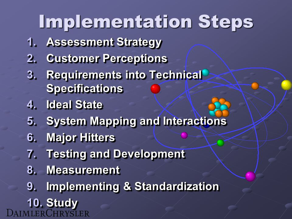 Implementation Steps 1.Assessment Strategy 2.Customer Perceptions 3.Requirements into Technical Specifications 4.Ideal State 5.System Mapping and Interactions 6.Major Hitters 7.Testing and Development 8.Measurement 9.Implementing & Standardization 10.Study 1.Assessment Strategy 2.Customer Perceptions 3.Requirements into Technical Specifications 4.Ideal State 5.System Mapping and Interactions 6.Major Hitters 7.Testing and Development 8.Measurement 9.Implementing & Standardization 10.Study