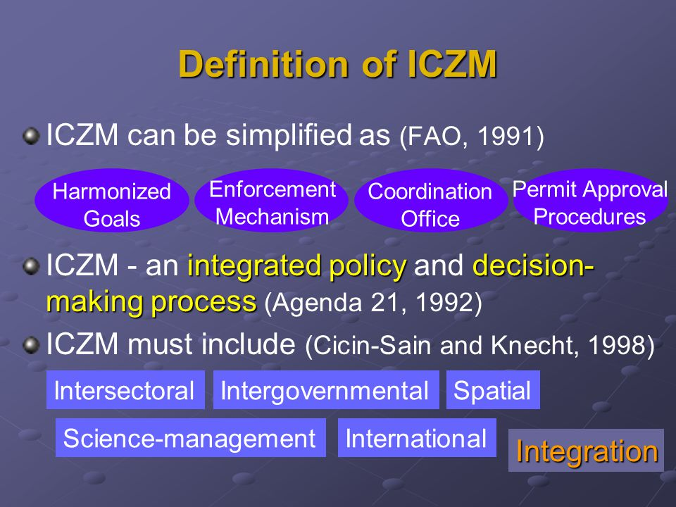 Definition of ICZM ICZM can be simplified as (FAO, 1991) integrated policydecision- making process ICZM - an integrated policy and decision- making process (Agenda 21, 1992) ICZM must include (Cicin-Sain and Knecht, 1998) Harmonized Goals Enforcement Mechanism Coordination Office Permit Approval Procedures IntersectoralIntergovernmentalSpatial Science-managementInternational Integration