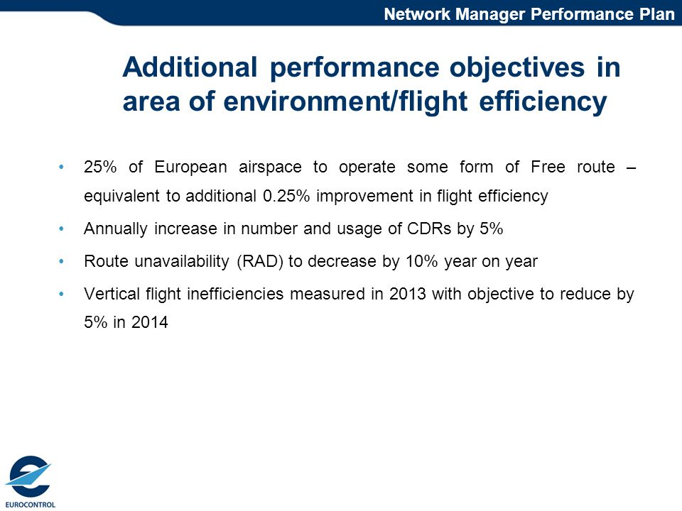 Additional performance objectives in area of environment/flight efficiency 25% of European airspace to operate some form of Free route – equivalent to additional 0.25% improvement in flight efficiency Annually increase in number and usage of CDRs by 5% Route unavailability (RAD) to decrease by 10% year on year Vertical flight inefficiencies measured in 2013 with objective to reduce by 5% in 2014 Network Manager Performance Plan