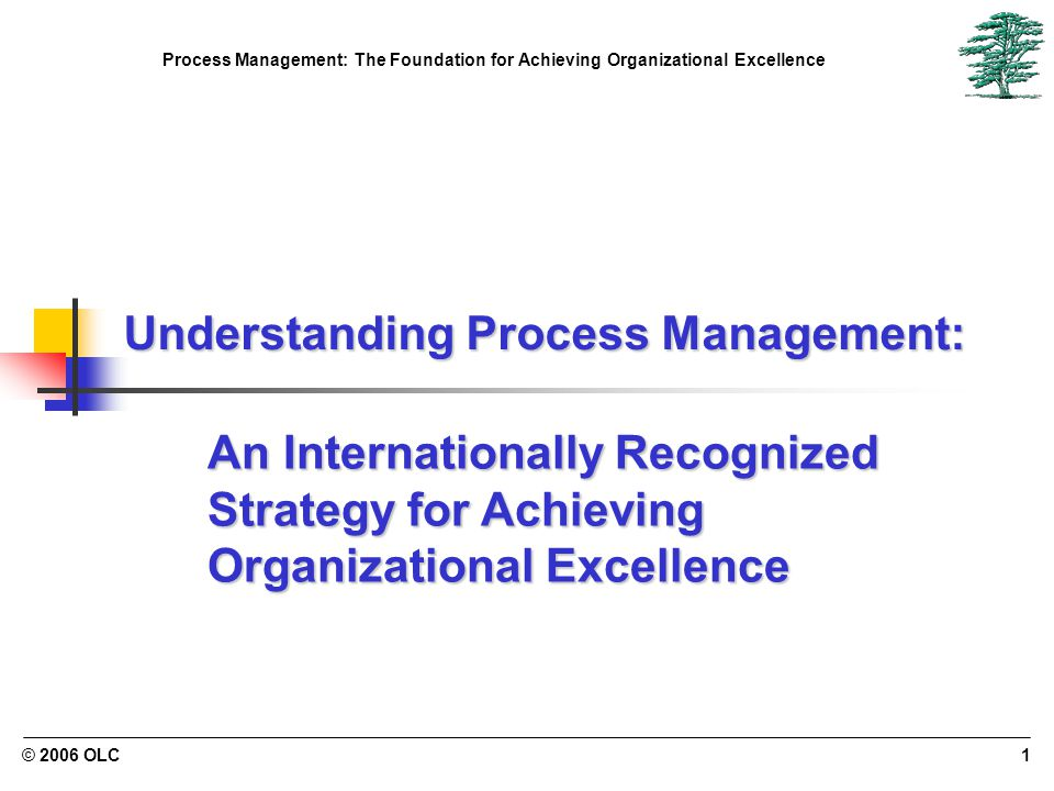 Process Management: The Foundation for Achieving Organizational Excellence © 2006 OLC1 Understanding Process Management: An Internationally Recognized Strategy for Achieving Organizational Excellence