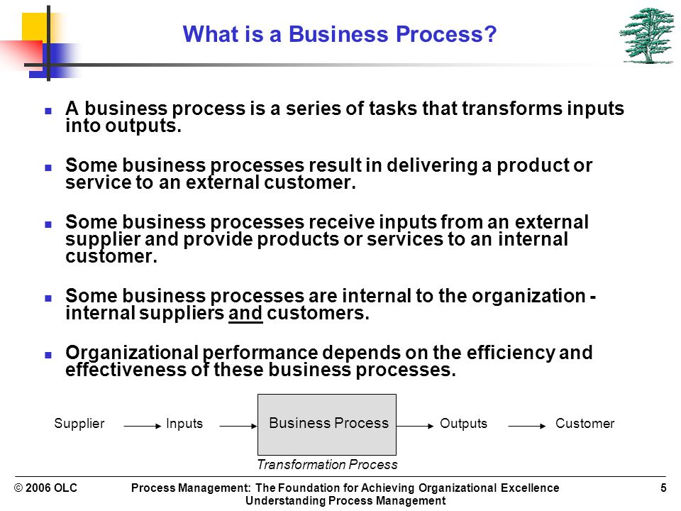 Process Management: The Foundation for Achieving Organizational Excellence Understanding Process Management © 2006 OLC5 What is a Business Process.