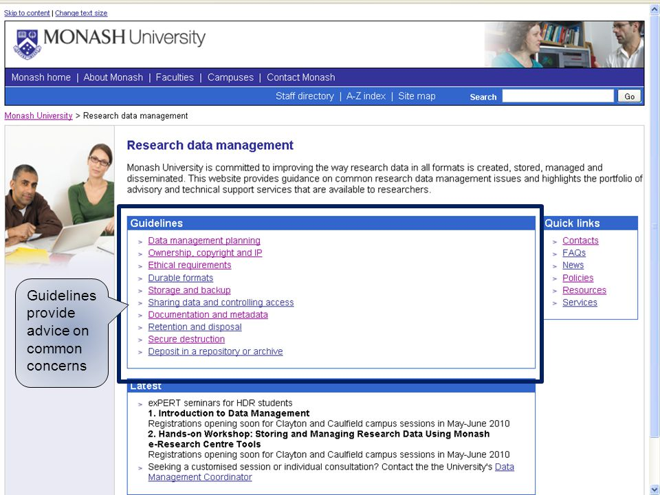 www.monash.edu Guidelines provide advice on common concerns