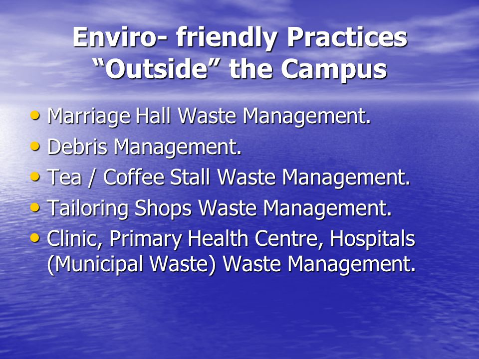 Enviro- friendly Practices Outside the Campus Marriage Hall Waste Management.