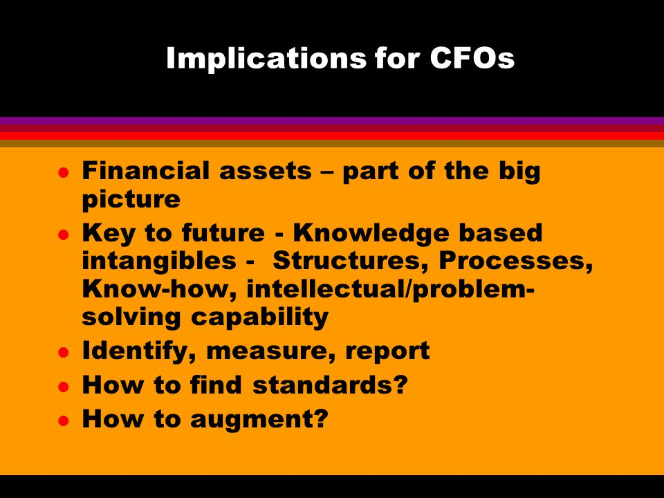 Implications for CFOs l Financial assets – part of the big picture l Key to future - Knowledge based intangibles - Structures, Processes, Know-how, intellectual/problem- solving capability l Identify, measure, report l How to find standards.
