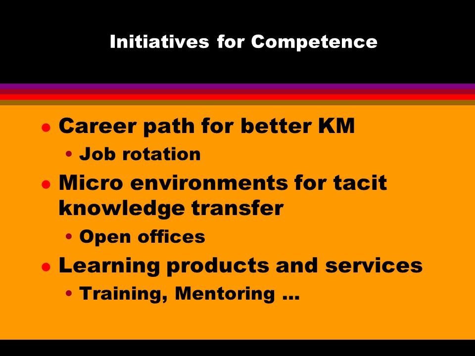 Initiatives for Competence l Career path for better KM Job rotation l Micro environments for tacit knowledge transfer Open offices l Learning products and services Training, Mentoring …