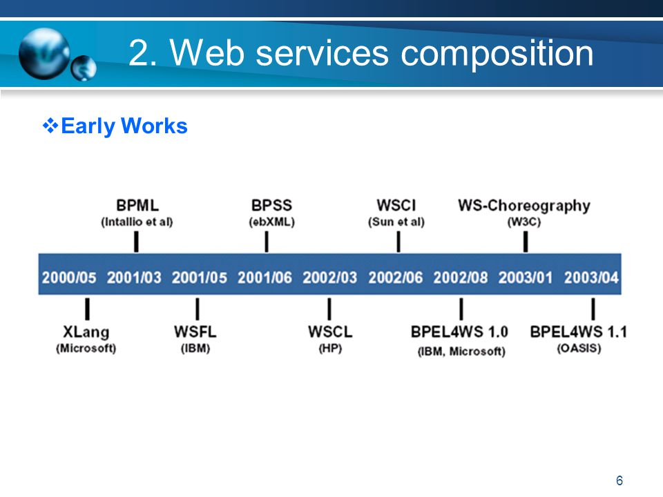 6 2. Web services composition Early Works