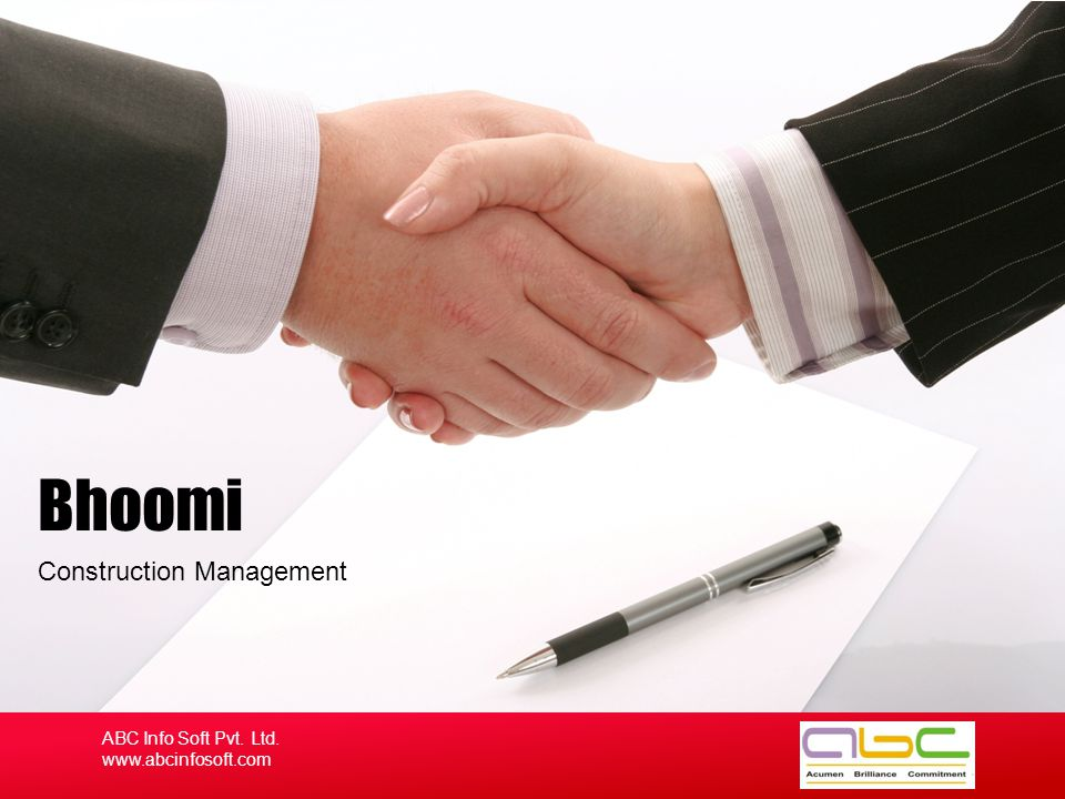 Construction Management Bhoomi ABC Info Soft Pvt. Ltd. www.abcinfosoft.com