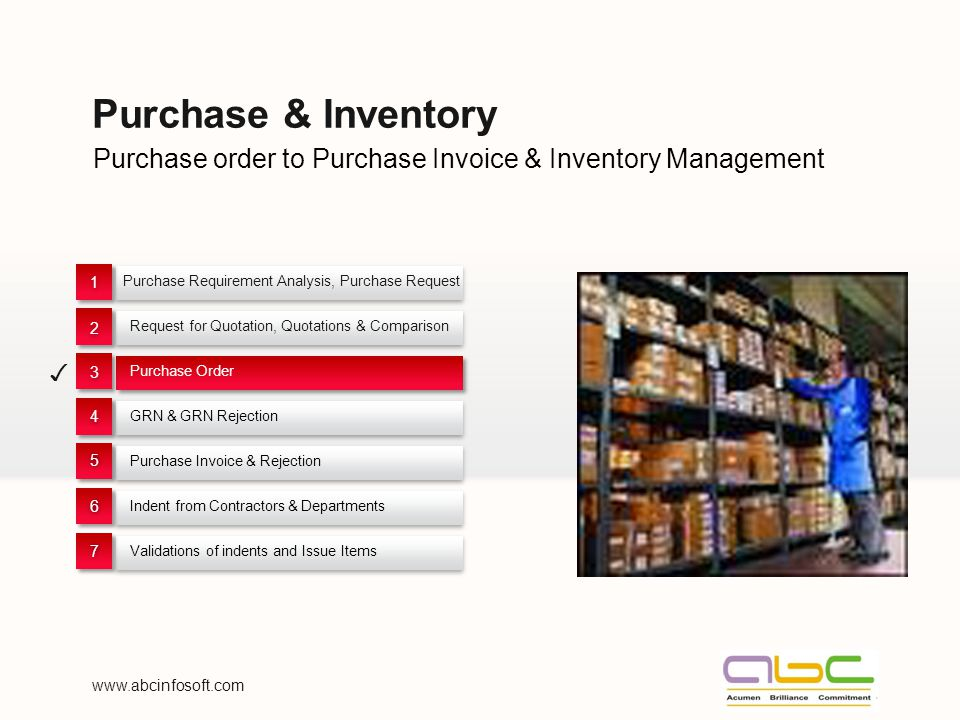 Purchase order to Purchase Invoice & Inventory Management Purchase & Inventory Purchase Requirement Analysis, Purchase Request 1 1 Request for Quotation, Quotations & Comparison 2 2 Purchase Order 3 3 GRN & GRN Rejection 4 4 Purchase Invoice & Rejection 55 Indent from Contractors & Departments 66 Validations of indents and Issue Items 77 www.abcinfosoft.com