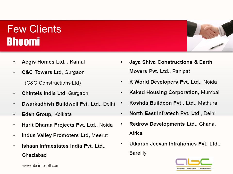 Aegis Homes Ltd., Karnal C&C Towers Ltd, Gurgaon (C&C Constructions Ltd) Chintels India Ltd, Gurgaon Dwarkadhish Buildwell Pvt.