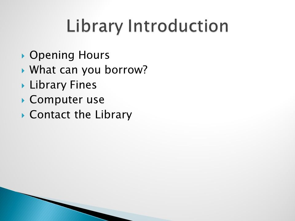 Opening Hours What can you borrow Library Fines Computer use Contact the Library