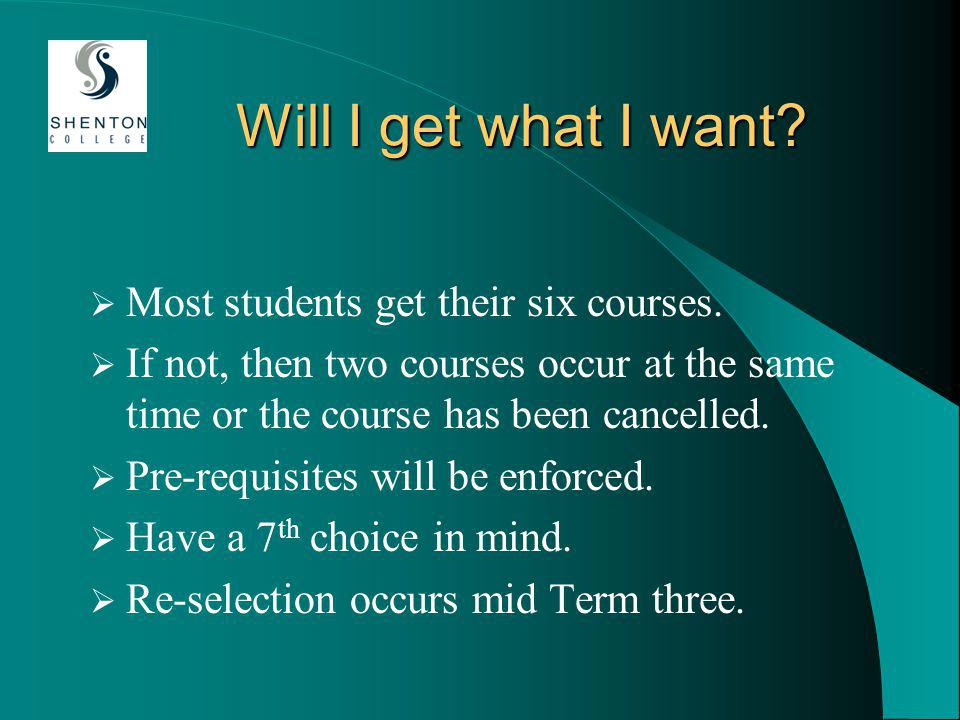 Will I get what I want. Most students get their six courses.