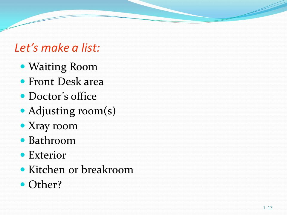 Lets make a list: Waiting Room Front Desk area Doctors office Adjusting room(s) Xray room Bathroom Exterior Kitchen or breakroom Other.