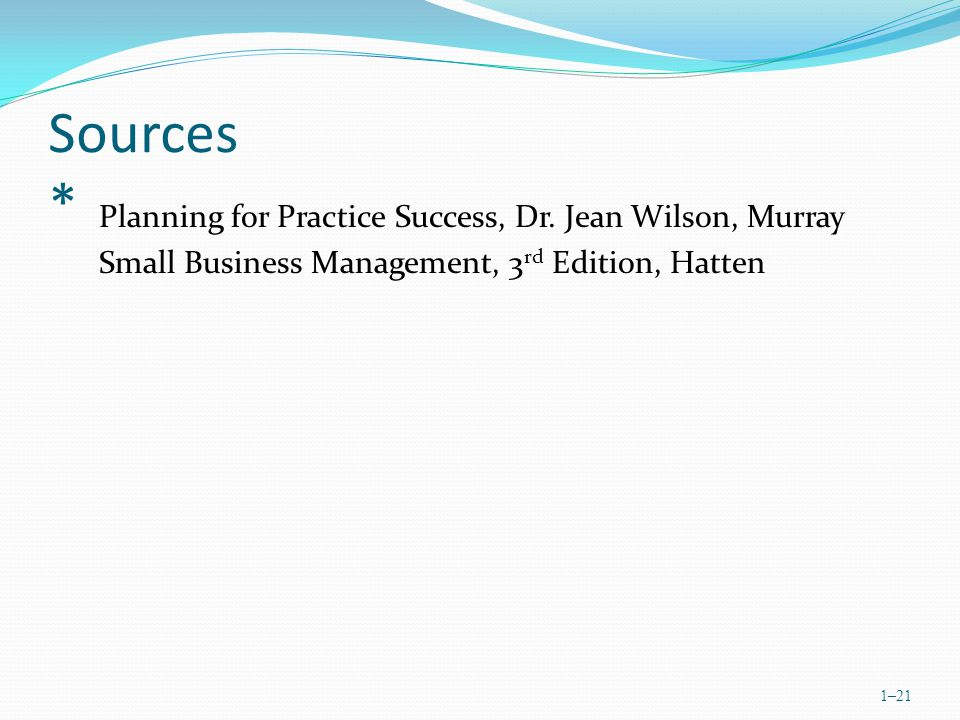 Sources * Planning for Practice Success, Dr.