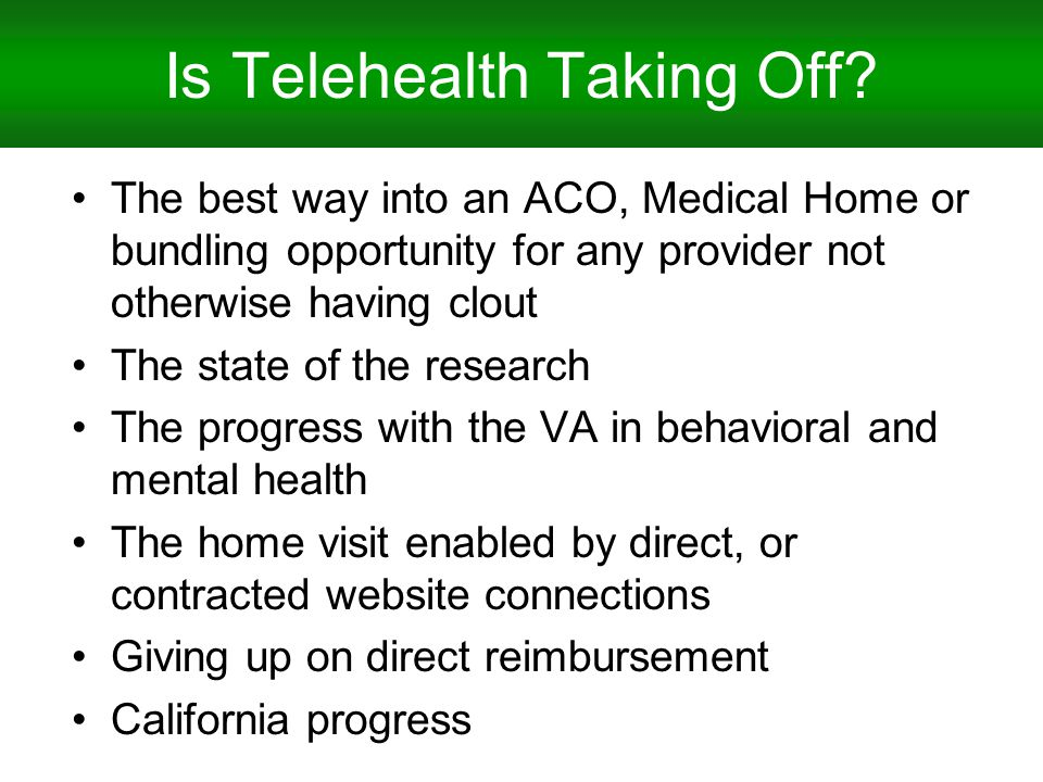 Is Telehealth Taking Off.