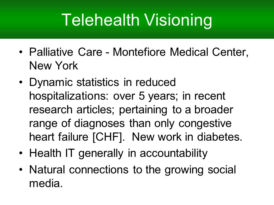 Telehealth Visioning Palliative Care - Montefiore Medical Center, New York Dynamic statistics in reduced hospitalizations: over 5 years; in recent research articles; pertaining to a broader range of diagnoses than only congestive heart failure [CHF].