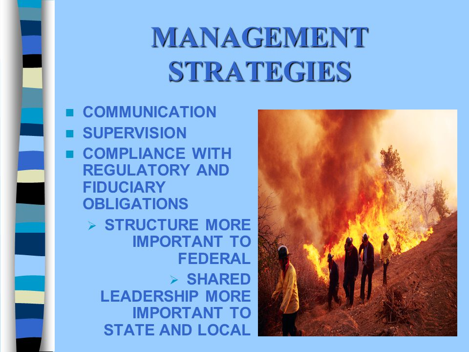 MANAGEMENT STRATEGIES COMMUNICATION SUPERVISION COMPLIANCE WITH REGULATORY AND FIDUCIARY OBLIGATIONS STRUCTURE MORE IMPORTANT TO FEDERAL SHARED LEADERSHIP MORE IMPORTANT TO STATE AND LOCAL