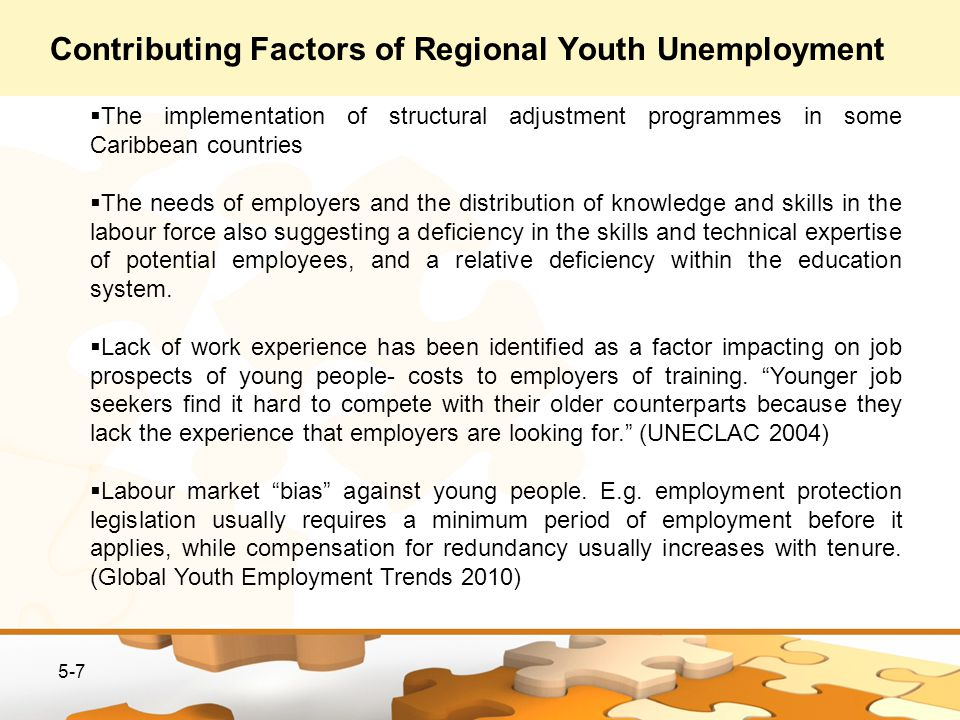 5-7 The implementation of structural adjustment programmes in some Caribbean countries The needs of employers and the distribution of knowledge and skills in the labour force also suggesting a deficiency in the skills and technical expertise of potential employees, and a relative deficiency within the education system.