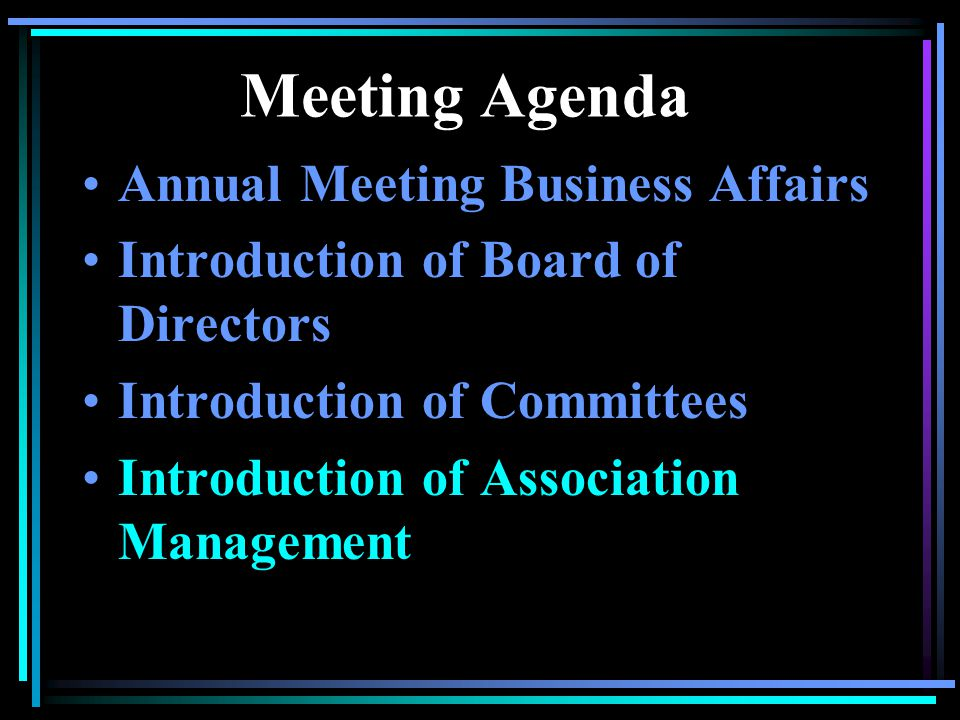 Meeting Agenda Annual Meeting Business Affairs Introduction of Board of Directors Introduction of Committees