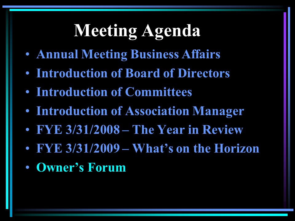 Meeting Agenda Annual Meeting Business Affairs Introduction of Board of Directors Introduction of Committees Introduction of Association Manager FYE 3/31/2008 – The Year in Review FYE 3/31/2009 – Whats on the Horizon