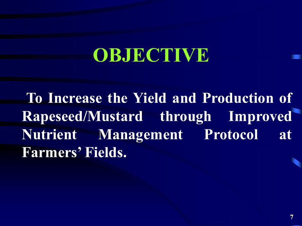 OBJECTIVE To Increase the Yield and Production of Rapeseed/Mustard through Improved Nutrient Management Protocol at Farmers Fields.